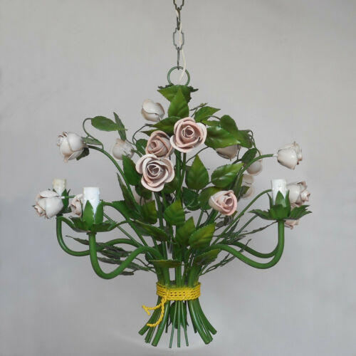 VINTAGE ITALIAN TOLE CHANDELIER CEILING LIGHT 5 ARMS FLOWERS ROSES ITALY ANTIQUE