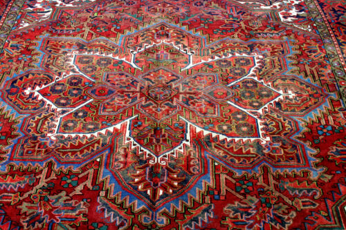 10X12 1940's MASTERPIECE MINT ANTIQUE HAND KNOTTED HERIZZ GEOMETRIC WOOL RUG