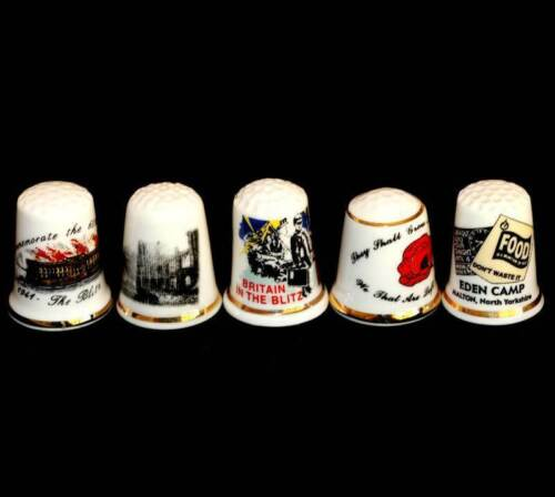 Vintage group of 5 military thimbles inc the Blitz, poppies and advertisingOther Eras, Wars - 135