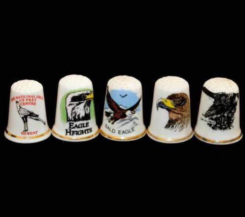 Vintage group of bird of prey thimbles inc bald eagle etc in great conditionOther Eras, Wars - 135