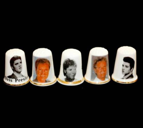 Vintage group of 5 Elvis and Cliff Richard thimbles in great conditionOther Eras, Wars - 135