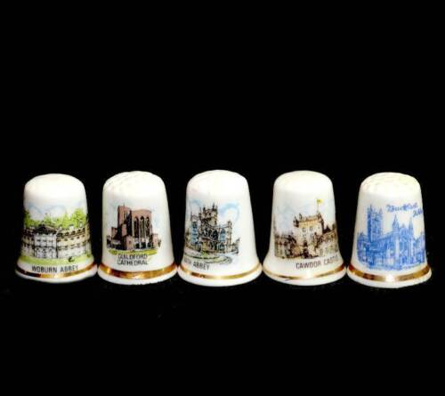 Vintage group of 5 United Kingdom thimbles inc castles, abbeys, cathedrals etcOther Eras, Wars - 135