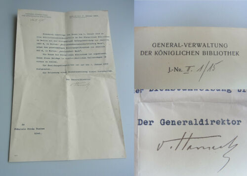 Theologe Adolf From Harnack (1851-1930): Signed Letter Library Berlin 1915