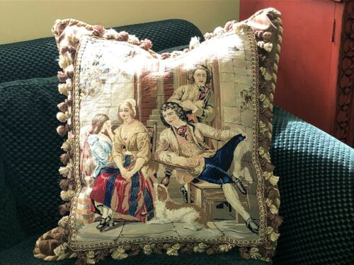 """ANTIQUE NEEDLEPOINT/PETITPOINT TAPESTRY PILLOW ~FIGURAL WITH DOG 23"""" x 23"""""""