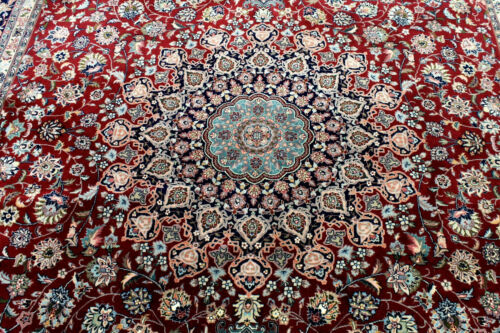 8X10 1960's SUPERB HAND KNOTTED 400+KPSI MUTED VEGETABLE DYE TABRIZZ ORIENAL RUG