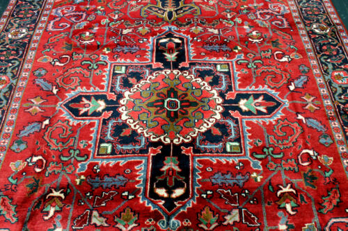 10X7 1940s EXQUISITE ELEGANT MINT ANTIQUE HAND KNOTTED HERIZZ GEOMETRIC WOOL RUG