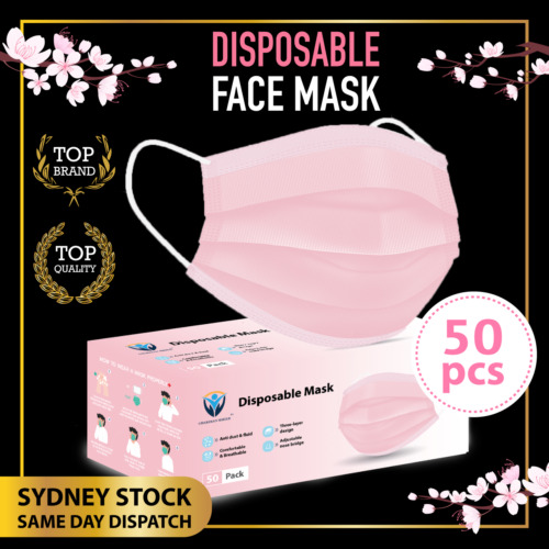 50Pcs PINK BLUSH Disposable Face Mask Protective Masks 3 layer Meltblown Filter <br/> SYD Stock Same Day Dispatch/BFE ≥95%/CE Certified