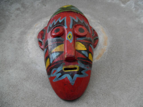 VINTAGE CARVED WOOD HAND PAINTED TRIBAL HOUSE MASK