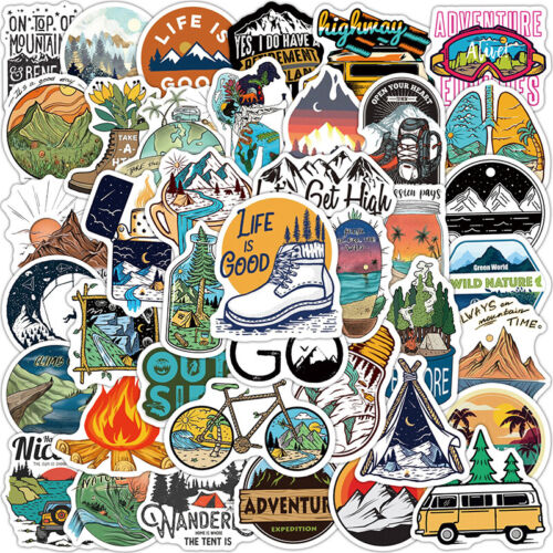 Forest Hiking Camping Sticker Outdoor Travel Beautiful Scenery Decal StickerBQU