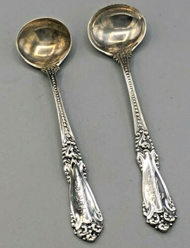 """La Marquise by Reed & Barton pair of master Salt Spoons 3.5"""", sterling silver"""