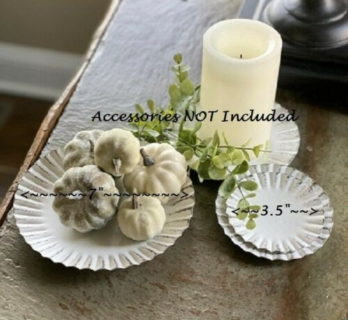 """NEW WHITE Candle Pan Tray Fluted 7"""" Shabby Cottage Farm Chic for Pillar / Jar"""