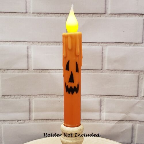 """NEW Primitive HALLOWEEN TIMER TAPER CANDLE  6.75"""" JACK O LANTERN FACE Grungy"""