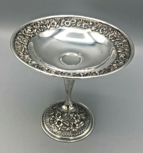 Rare Antique Repousse Sterling Silver Compote, hand Chased, Oldest Hallmark