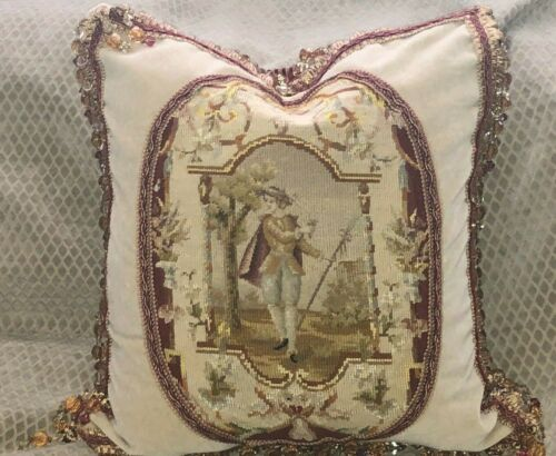 Antique 19th C French Needlepoint Wool Tapestry Pillow ~ Man in a Cartouche