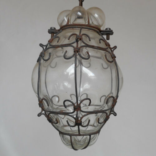 ANTIQUE MURANO HAND BLOWN CLEAR CAGED GLASS LANTERN CEILING LIGHT VINTAGE ITALY