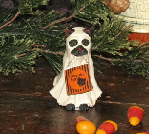Primitive Antique Vtg Style Halloween Trick or Treat Spooky Ghost Cat Resin