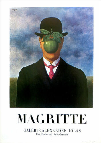 Rene Magritte Son Of Man Surrealism 1978 Poster Print 16 x 11