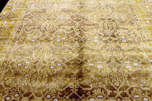 8X10 BREATHTAKING NEW HAND KNOTTED VEGETABLE DYE GOLD OUSHAK WOOL TURKISH RUG