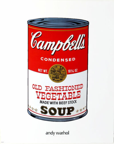 ANDY WARHOL Campbells Old Fashioned Vegetable Soup 1995 Poster 30 x 24