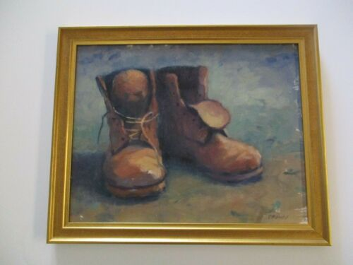CATHERINE GRAWIN STILL LIFE PAINTING AMERICAN CA LISTED IMPRESSIONIST OLD BOOTS
