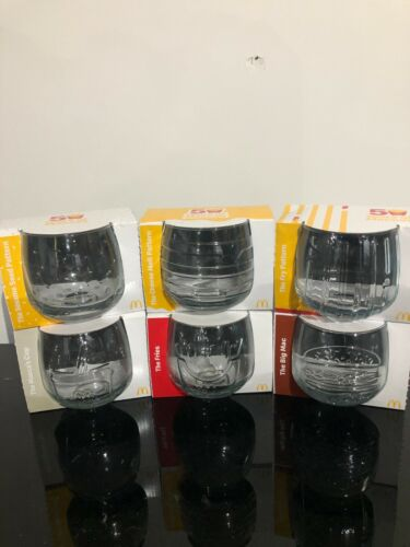 McDonalds 50 Years of Maccas Complete Set of 6 Wobbly Glasses 2021 Brand New
