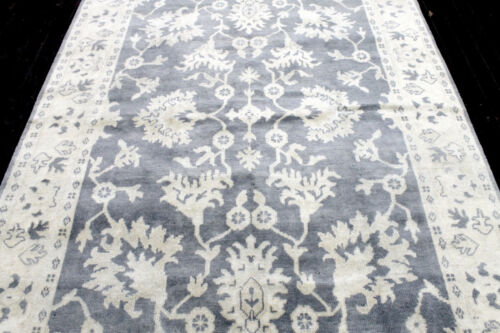 9X6 EXQUISITE MINT NEW HAND KNOTTED SILVER BLUE WOOL OUSHAK TURKISH ORIENTAL RUG