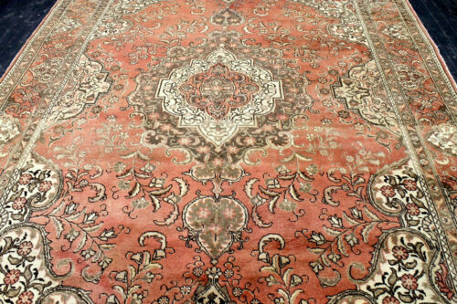 9X12 1940's SUPERB ANTIQUE HAND KNOTTED VEGETABLE DYE TABRIZZ ORIENTAL WOOL RUG