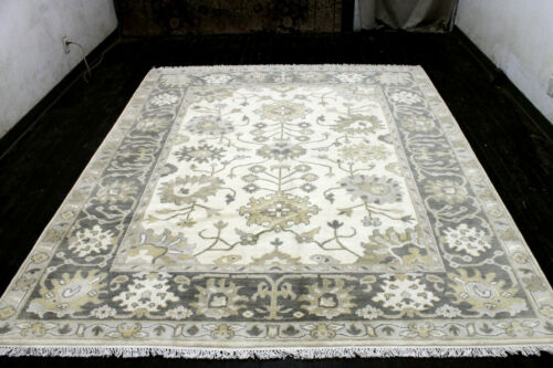 8X10 EXQUISITE MINT NEW HAND KNOTTED IVORY WOOL OUSHAK TURKISH ORIENTAL RUG