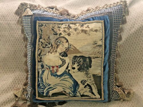 VICTORIAN 19th century wool hand stitched NEEDLEPOINT Tapestry of GIRL & HER DOG