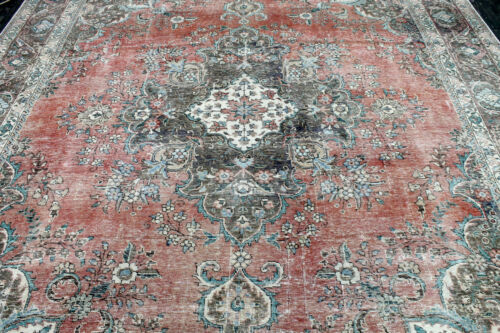 10X13 1920's MUSEUM ELEGANT FINE ANTIQUE HAND KNOTTED TABRIZZ WOOL ORIENTAL RUG