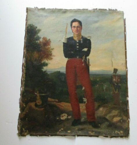 WAR TIME ANTIQUE 19TH CENTURY OIL PAINTING PORTRAIT OFFICER BATTLE FIELD AS IS