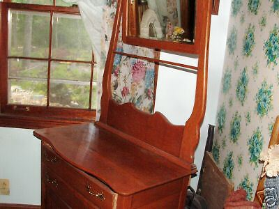Beautiful oak washstand with beveled mirror & towelrack