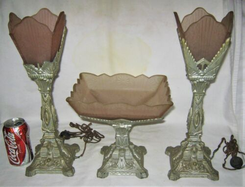 ANTIQUE ART DECO SCONCE PINK SATIN GLASS LAMP SHADE STAND BOWL TORCH STATUE SET