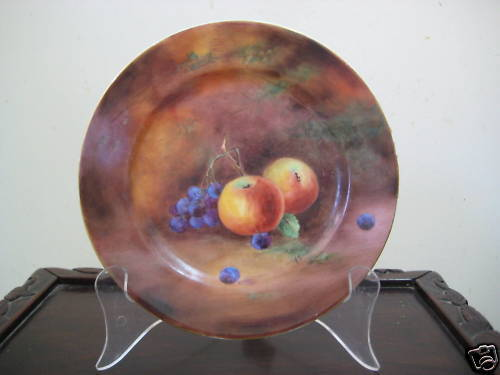 1923 England Hand Painted Fruits Plate–Apples & Grapes