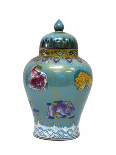 Chinese Porcelain Blue Golden Scrolls Dragon and Turtle Painting Vase Jar s1260