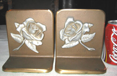 ANTIQUE GARDEN ROSE FLOWER PLANT BRONZE & PEWTER ART STATUE SCULPTURE BOOKENDS