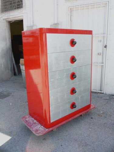 TALL RED LACQUER ART DECO CHEST W SILVER LEAF DRAWERS