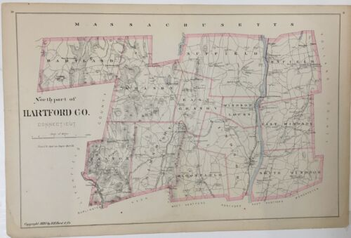 1893 Original Map Hartford County CT Old Connecticut Conn Vintage River