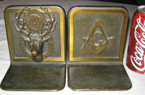 ANTIQUE BRONZE BPOE MASON ELKS LODGE MASONIC CLOCK ART DEER ANTLER HUNT BOOKENDS