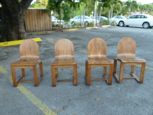 4 VERY UNUSUAL MID CENTURY DANISH  MODERN MODERNIST BENT MOLDED PLYWOOD CHAIRS