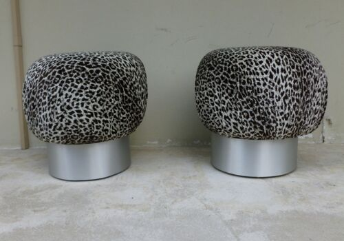 CHICPAIR 70'S KARL SPRINGER STYLE LEOPARD FABRIC SOUFFLE POUFS  ALUMINUM BASES