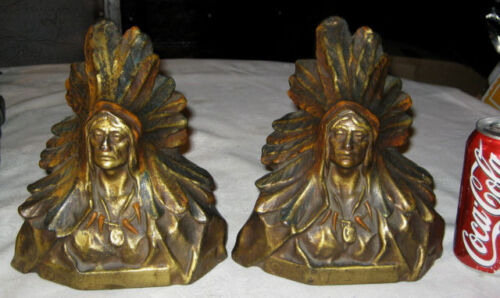 ANTIQUE MARION BRONZE NATIVE AMERICAN INDIAN CHIEF ART STATUE SCULPTURE BOOKENDS