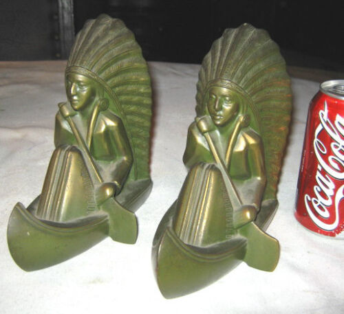 ANTIQUE JENNINGS BROTHERS JB #2902 INDIAN IN CANOE ART STATUE SCULPTURE BOOKENDS