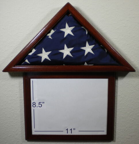 3 X 5 MAHOGANY WITH FRAME FLAG DISPLAY CASE CAPITAL AMERICAN USA MILITARY BOXOther Militaria - 135