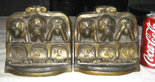 ANTIQUE SEE HEAR SPEAK NO EVIL MONKEY BRONZE METAL ART STATUE SCULPTURE BOOKENDS