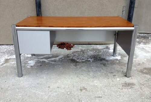 SUPER COOL 1970'S SPACE AGE MOD TUBULAR CHROME DESK W ROSEWOOD TOP