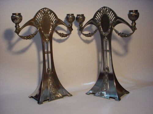 WONDERFUL PAIR Jugendstil/Art Nouveau WMF TWO ARMS CANDELABRA.