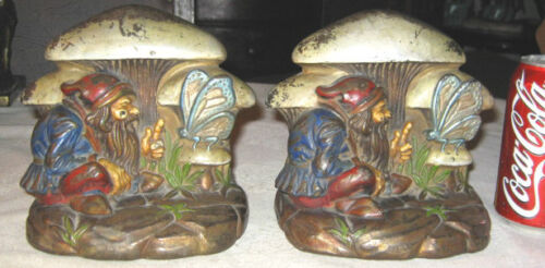 ANTIQUE ARMOR BRONZE GNOME FAIRY TALE MUSHROOM BUTTERFLY ART STATUE BOOKENDS TOY