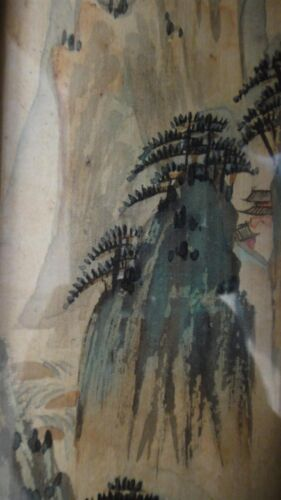 CHINA  ANTIQUE CHINESE INK ON SILK FABRIC TRIPTYCHON SIGNED HAND PAINTING