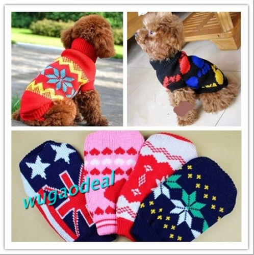 New Cute Puppy Pet Cat Dog Sweater Warm  Knitwear Coat Apparel Clothes 5 Sizes